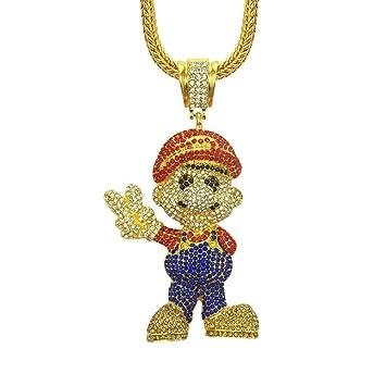 9edc8a83f594 Mario Manostijeras Collares De Dibujos Animados Hielo Plata Oro Hombres  Cubanos Hip Hop Cadena Zircon Diamante Collar Unisex Personalidad Rap  Joyas