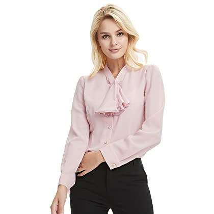 7a6e668b093d76 ... E.JAN1ST Women s Long Sleeve Shirt Tie Bow Neck Button End Slim Fit  Chiffon Blouse ...