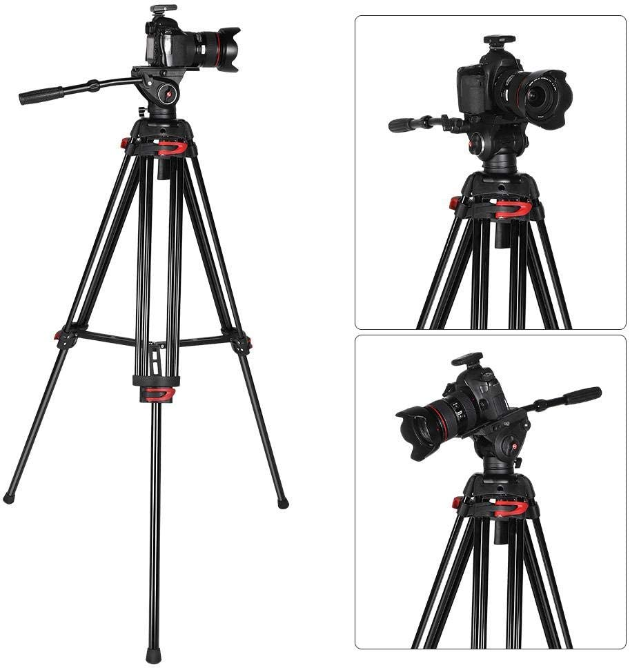 Vbestlife Video Camera Tripod,Travel Camera Tripod Aluminum with Fluid Pan Head,Adjustable Tripod Stand max Load of 15KG//33lb for DSLR//DV Camera//Cameras.