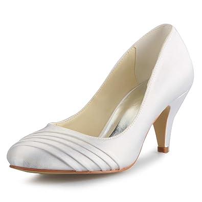 JIA JIA 5949415 Damen Brautschuhe Geschlossene Zehe Mittlere Ferse Satin  Pumps Rüschen Hochzeitsschuhe Farbe Weiß,