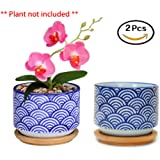 Flowerpot+Wooden Pot Tray Japanese Style Wave Pattern Ceramic Garden Pots Succulent Planter Blue White Flower Po (2-PCS, Wave Blue)