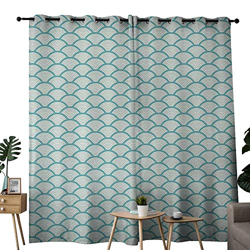 (Beach Thermal Curtains Narrow Striped Conceptual Sea Waves Pattern Circular Rounded Rippled Swirled for Living, Dining, Bedroom (Pair) W96 x L84 Sky Blue White)