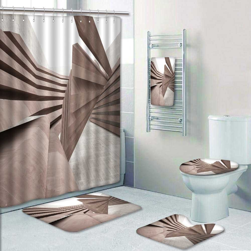 VROSELV 5-piece Bathroom Set-Includes Shower Curtain Liner, smooth brown concrete future interior with a window Decorate the bathroom(Large)