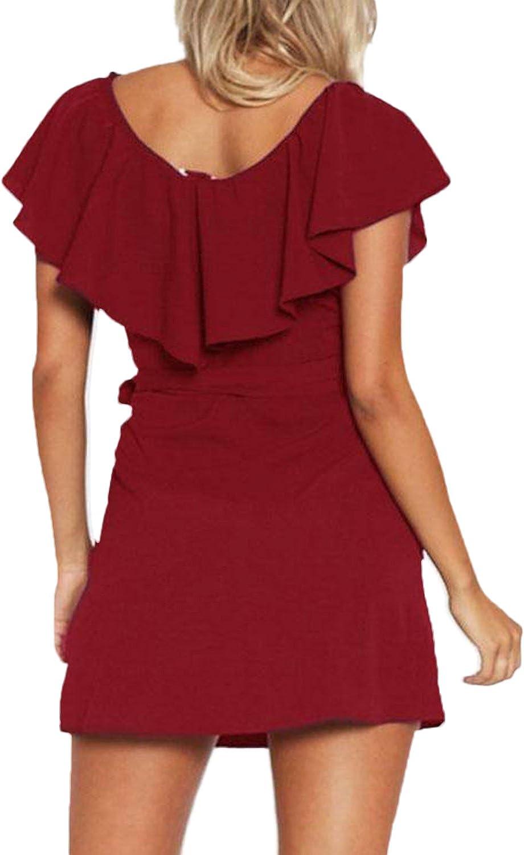 elegante Yoins corto cuello en V Vestido de verano para mujer vestido de playa sin hombros minivestido de fiesta