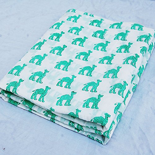 Craftofpinkcity Pushkar Camel design Indian Hand Printed Cotton Fabric by Yards Voile White Bleached Green Wood Stamp Sewing Material