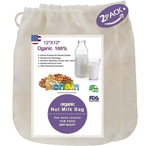 """Leche de almendras, bolsa colador 12 """"x12 premium de calidad alimentaria Orgánica cáñamo"""