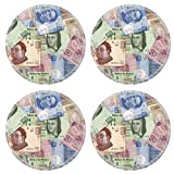 Liili Natural Rubber Round Coasters IMAGE ID: 10849582 Mexican Peso bills scattered randomly all over