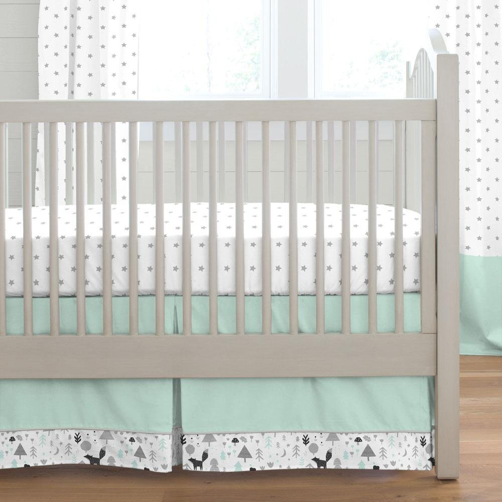 Carousel Designs Mint and Gray Baby Woodland Crib Skirt Box Pleat 20-Inch Length