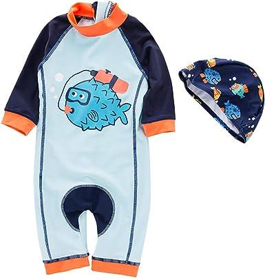 Baby Boys 2pcs Rash Guard Swimsuits Kids Long Sleeve Sunsuit Swimwear Sets Bathing Suit with Sunhat