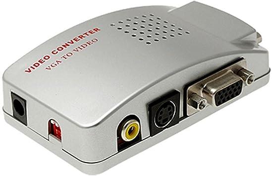 WINGONEER Universal para pc vga a TV AV RCA Adaptador de la señal de vídeo convertidor de la Caja delinterruptor es Compatible con ntsc y PAL Sistema: Amazon.es: Electrónica