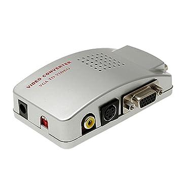 Universal para pc vga a tv av rca adaptador de la señal de vídeo convertidor de la caja delinterruptor es compatible con ntsc y pal sistema: Amazon.es: ...