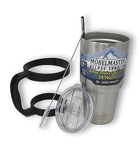 Möbelmaster 30oz Tumbler Vacuum Insulated Double Wall Travel Mug 18/8 Stainless Steel (Brush Metal)
