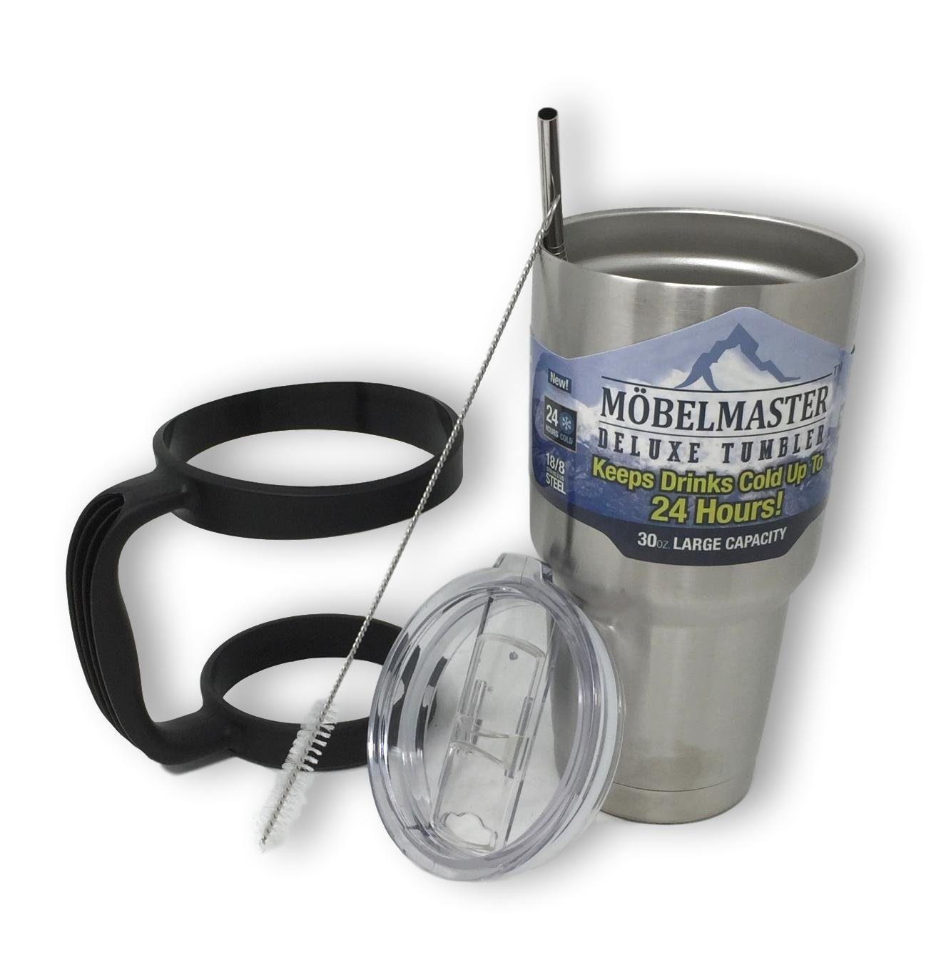 Möbelmaster 30oz Tumbler Vacuum Insulated Double Wall Coffee & Tea Cup Travel Mug 304 Stainless Steel (Brush Metal)