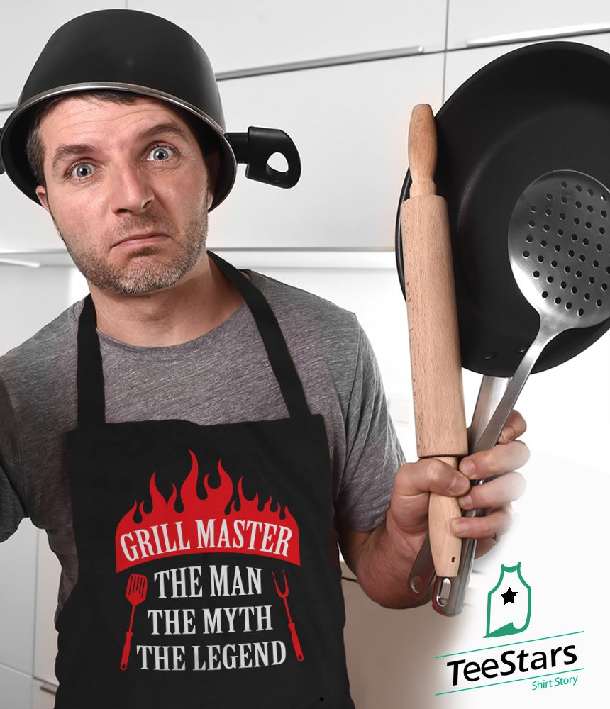 Grill Master The Man The Myth The Legend Griller Gift Idea Funny BBQ Chef Apron One Size Black by TeeStars (Image #2)