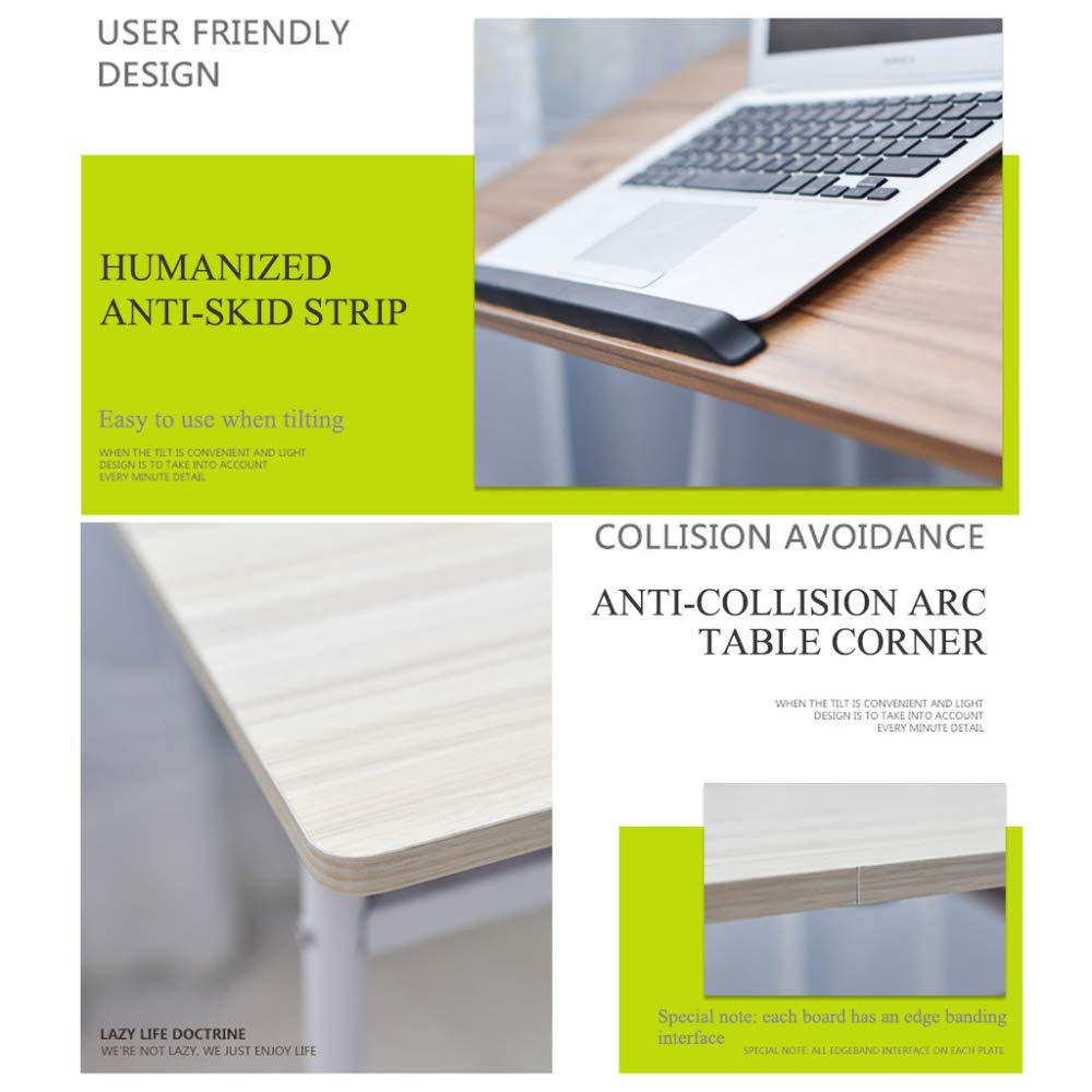 LIULIFE Mobile Computer Desk On Wheels, Writing Desk, PC Table for Small Spaces, Workstation for Home Office, Easy Assembly,Beige-6040cm by LIULIFE (Image #4)