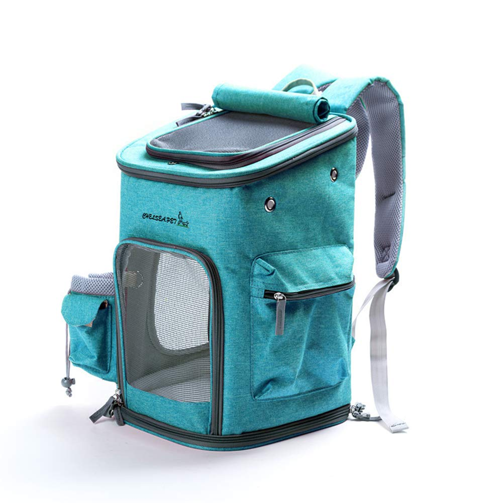 bluee MPet Backpack Carrier for Small Cats and Dogs Ventilated, Designed for Travel, Hiking&Outdoor Use (M) with Fan and Kettle
