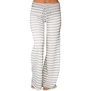 Honghu Mujeres con Cord¨®n Pantalones Sueltos de Rayas largas con Estampado Pantalones Anchos