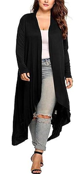 AILIENT Cardigan Largo Mujer Hipster Manga Larga Abrigos Joven para Mujer Coat Acogedor Outwear Color SÓLido: Amazon.es: Ropa y accesorios
