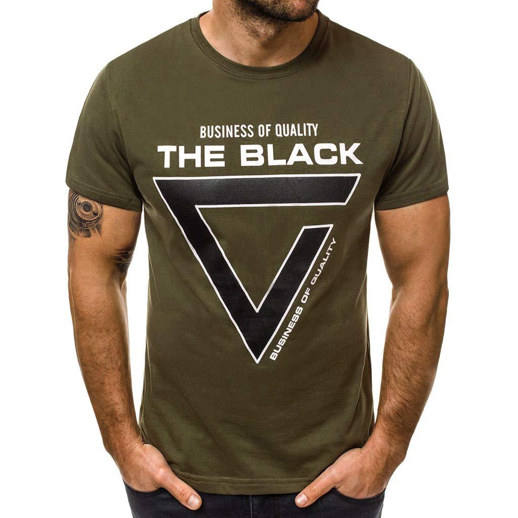 Hotkey Mens Tee Shirts Cotton Fashion Men's Casual Slim Letter Printed Short Sleeve T Shirt Top Blouse Green