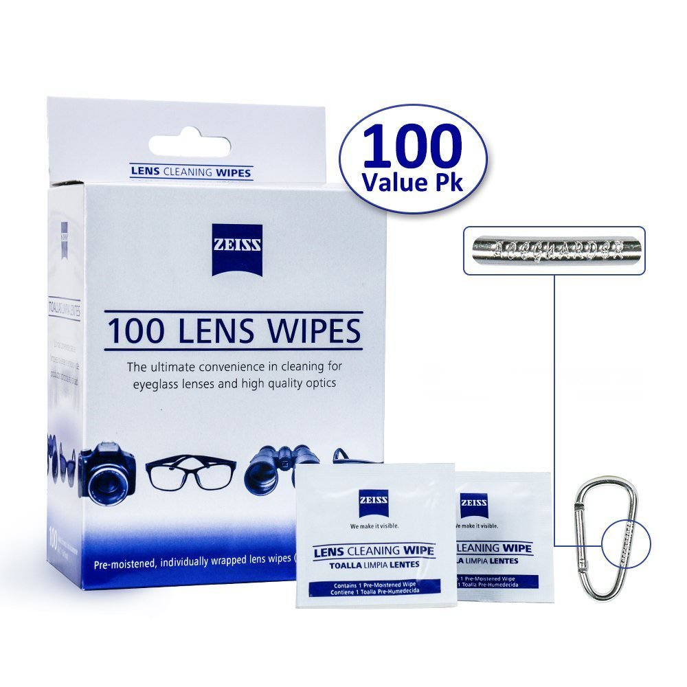 Zeiss Pre-Moistened Lens Cleaning Wipes - Cleans Bacteria and Germs without Streaks for Eyeglasses and Sunglasses, 2 Pack (100CT)