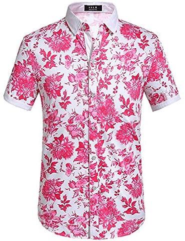 SSLR Men's Floral Button Down Short Sleeve Hawaiian Tropical Shirt (Medium, Fuchsia) - Pink Floral Shirt