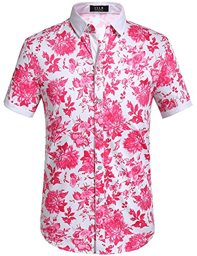 Street Hawaiian Shirt (SSLR Men's Flower Casual Button Down Short Sleeve Shirt (XX-Large, Fuchsia))