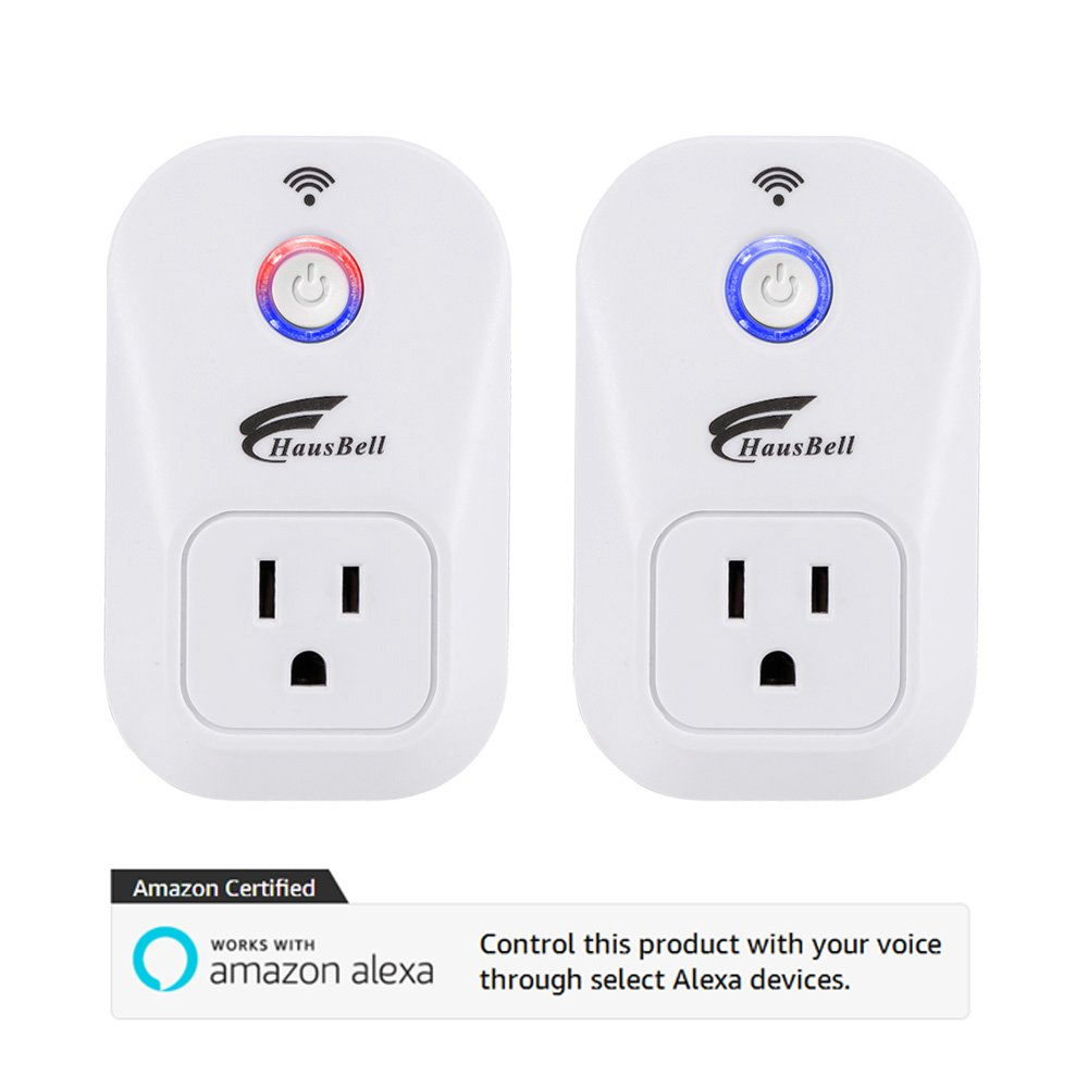 Smart Plug, 2 packs HAUSBELL Wi-Fi Plug with Countdown Function, Control your Devices from Anywhere, No Hub Required, Works with Alexa, UL Listed (SM-PW701U)