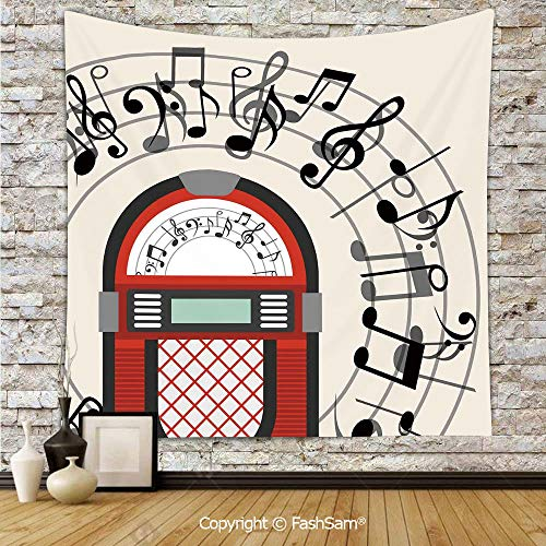 FashSam Tapestry Wall Hanging Cartoon Antique Old Vintage Radio Music Box Party with Notes Artwork Tapestries Dorm Living Room Bedroom(W59xL78)