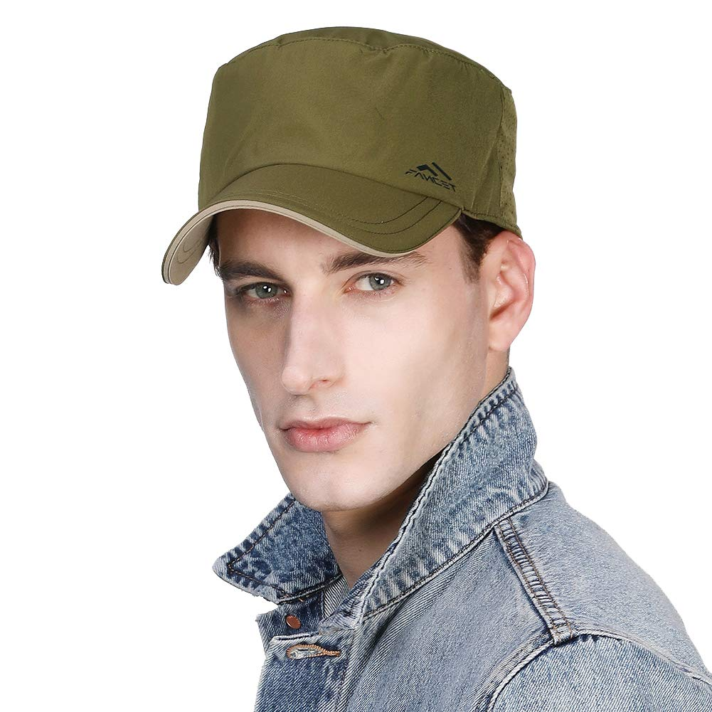 Fancet Packable Men Military Army Summer Waterproof Quick-Dry Rain Hat for Large Head Women Combat Baseball Cap Green 57-60cm by Fancet