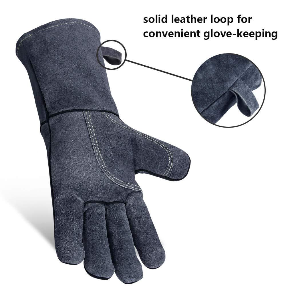 barbacoa OZERO Guantes resistentes al calor horno guantes de cuero para parrilla soldadura jardiner/ía 35.5cm gris