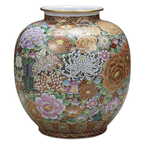 九谷焼 大雅10号花瓶 本金花詰K5-1352[花生けフラワーベース] B07469D52J