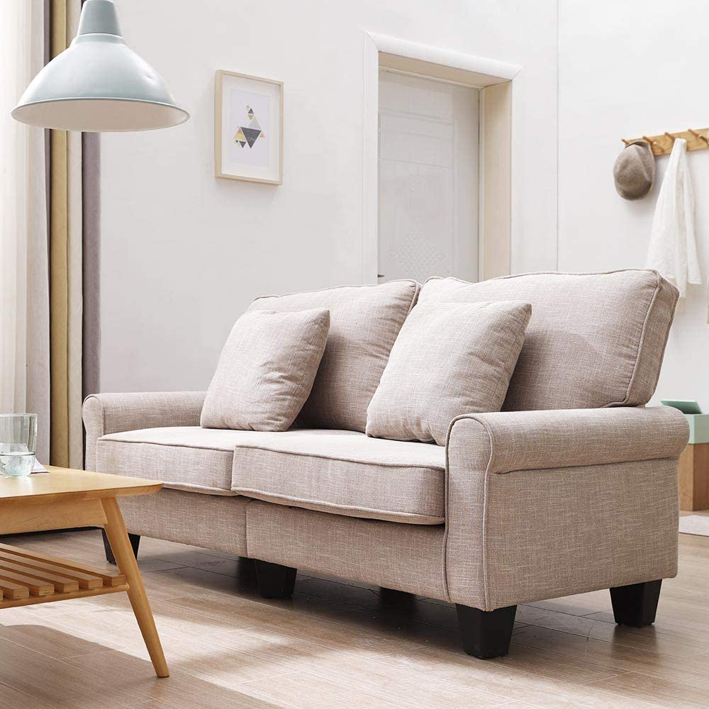 Volitation 2 Seater Sofa Fabric Sofa Settee Couch Living Room Furniture (Light Brown)