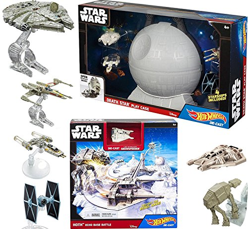 Star Wars Hot Wheels Mega Action Playset 4 Starships with Death Star Carrying Case & Hoth Echo Base Battle Play Set Luke's Snowspeeder - X-wing / Millennium Falcon / Tie Fighter / Y-Wing
