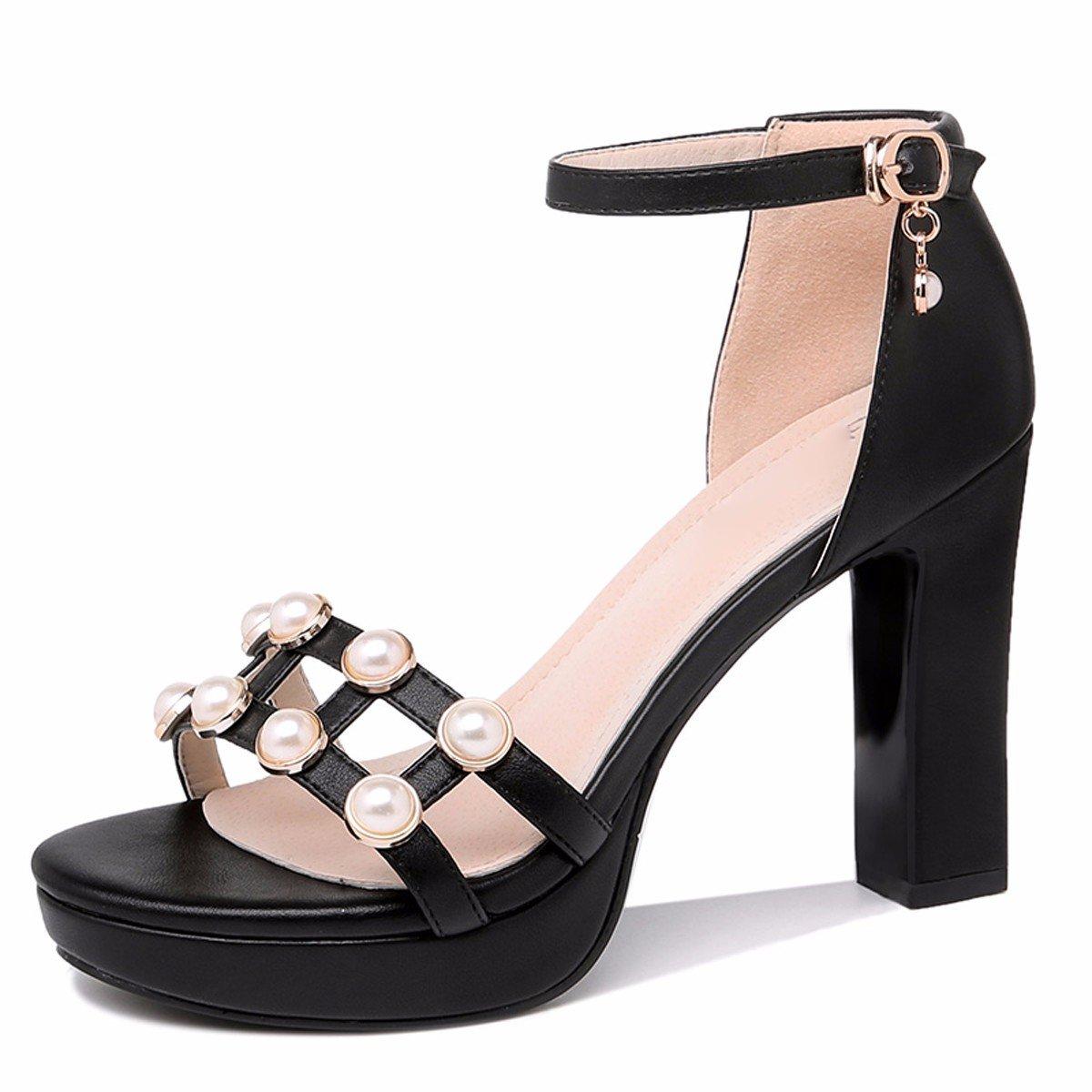 GTVERNH Damen Damens'S HeelsDicke Pumps HeelsDicke Damens'S Sohle 10Cm Hochhackigen Schuhe Weiblich Mitte Sohle Kleine Frische Wasserdichte Plattform Sommer Schnallen Sandalen. 97cd56