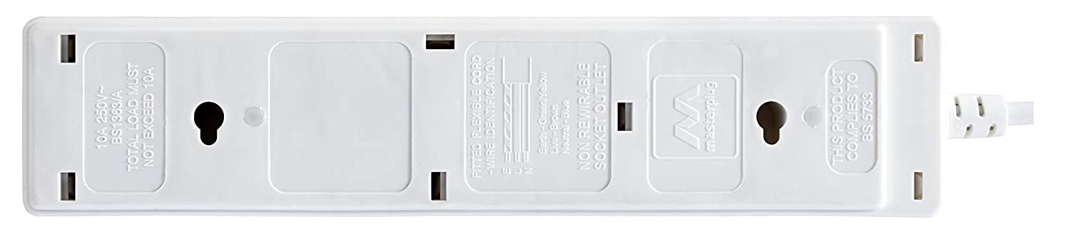 Masterplug SRG44-MS 4-Gang Surge Protected Indoor Power Socket with 4 m Extension Lead White