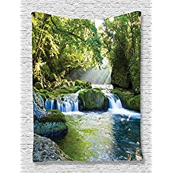 Ambesonne Jungle Tapestry Forest Rainforest Waterfall Decor, Foliage Mountains and Mossy Rocks View Print, Bedroom Living Kids Room Dorm Accessories Art Wall Hanging, 60 W x 80 L Inches, Green