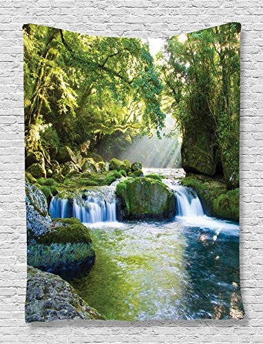 Ambesonne Jungle Tapestry Forest Rainforest Waterfall Decor by, Foliage Mountains and Mossy Rocks View Print, Bedroom Living Kids Room Dorm Accessories Art Wall Hanging, 60 W x 80 L Inches, Green