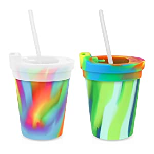 Silipint Safe Silicone Kids 8oz Cups Sea Swirl & Hippie Hop, U.S. Patented, BPA-Free, Unbreakable, Sealable Lid, Silistraws Included - Safer Car Rides, Camping, Sports, Life! (2 Cups/Lids and Straws)
