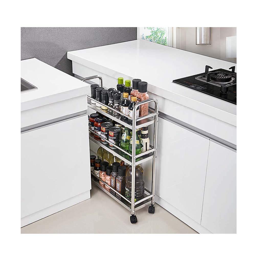 3-Layer Kitchen Counter Storage Rack for Seasoning Tank Storage, Bathroom Shelf Storage, (Universal Wheel Design) 52.7 X 17.3 X 72.5Cm