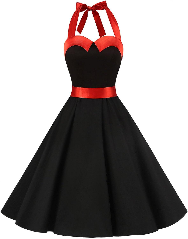 TALLA S. Dressystar Vestidos Corto Cuello Halter Estampado Flores y Lunares Vintage Retro Fiesta 50s 60s Rockabilly Mujer Solid Black