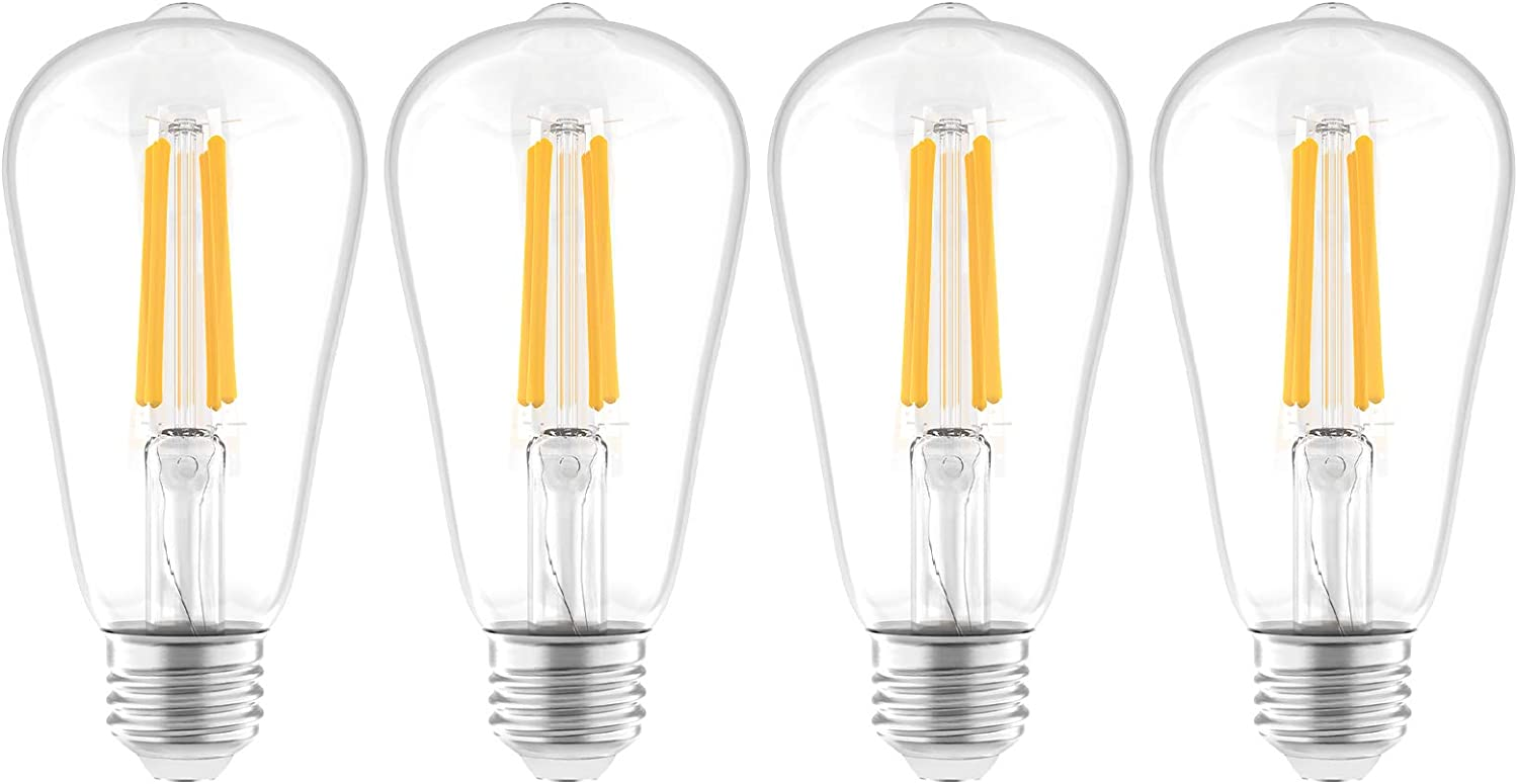 Lepro Dimmable Edison Light Bulbs, 60W Equivalent E26 LED Bulb, ST21 Vintage Filament Bulb, 7.5W 800LM, 2700K Warm White, Classic Clear Glass, Pack of 4