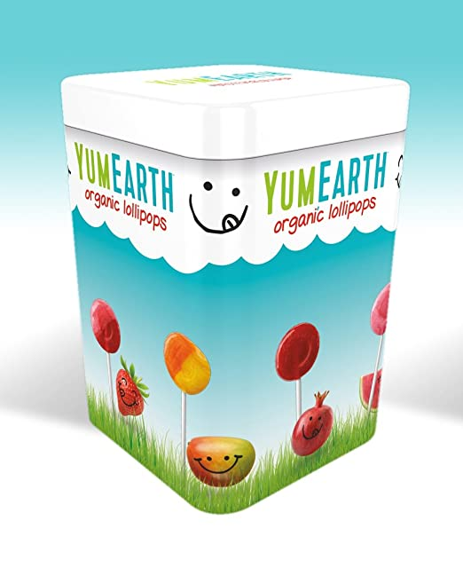 YumEarth - Lata surtido de 50 piruletas de 8 sabores: Cereza, Fresa, Sandía