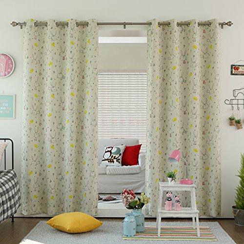 Best Home Fashion Room Darkening Bunny Print Curtains - Stainless Steel Nickel Grommet Top - Beige - 52