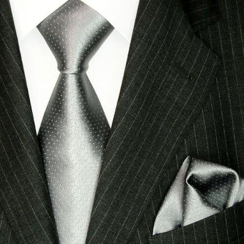 LORENZO CANA Italian Silk Business Tie Hanky Set Grey Silver Polka Dot 8449401 by LORENZO CANA (Image #1)