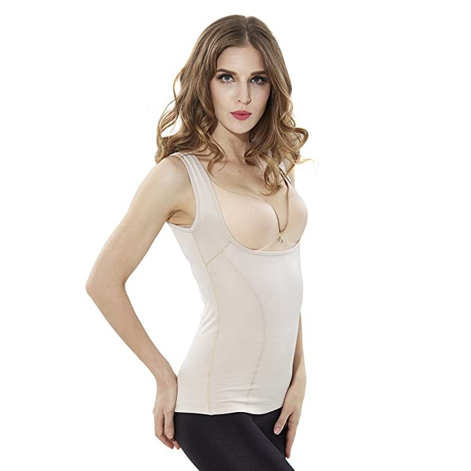 d4df16563f9f1 ShangMu Women s Thermal Underwear Under Bust Tank Top Shapewear Seamless  Tummy Control Body Shaper