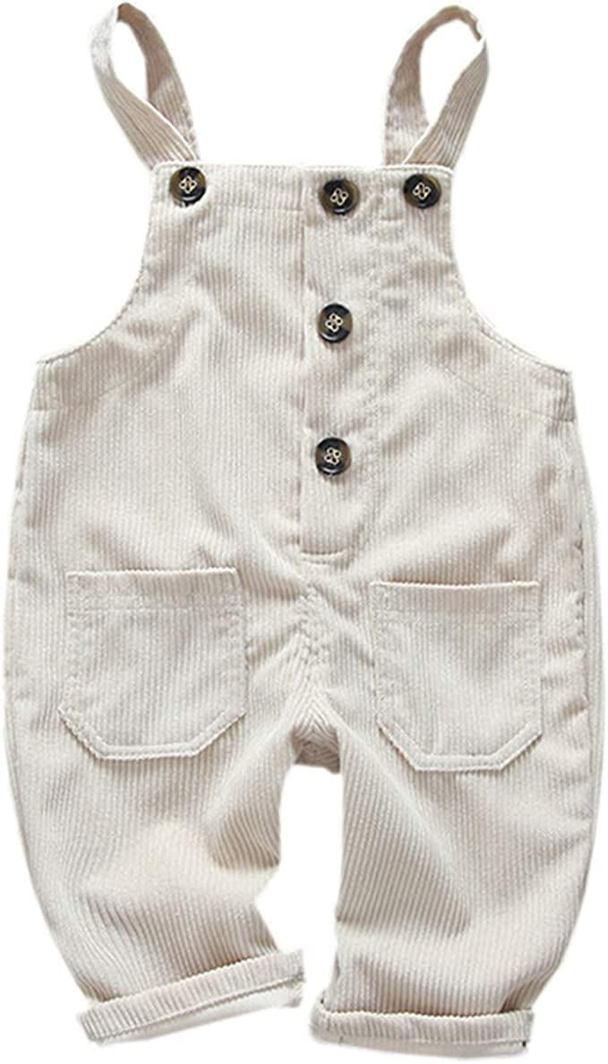 Digirlsor Baby Toddler Girls Boys Bib Overalls Corduroy Suspender Pants Fall Winter Trousers Romper Jumpsuit,1-5Y