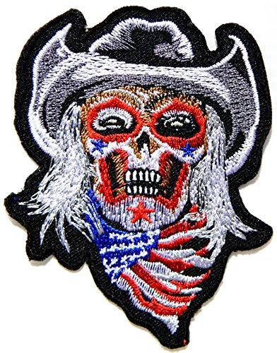 bc6db5b3915 Amazon.com  Cowboy USA Flag Ghost Skull Zombie Logo biker Hog Outlaw ...