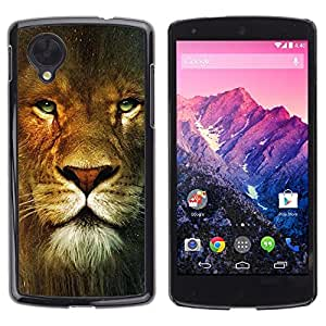 PC/Aluminum Funda Carcasa protectora para LG Google Nexus 5 D820 D821 Lion Portrait Green Eyes Wild Big Cat Africa / JUSTGO PHONE PROTECTOR