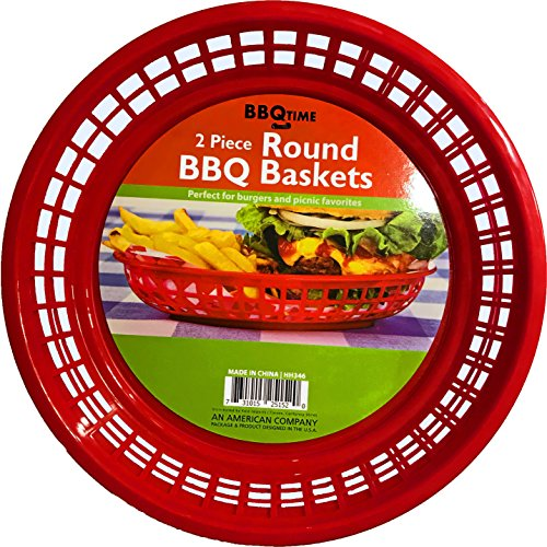 (Black Duck Brand 9.5-Inch Round Plastic BPA Free BBQ Food Burger Restaurant Picnic Food Baskets (Red; 10 Baskets))