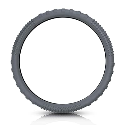 San Auto Steering Wheel Covers Silicone for Auto Car SUV Universal 15 inch Gray Breathable Anti-Slip Odorless: Automotive